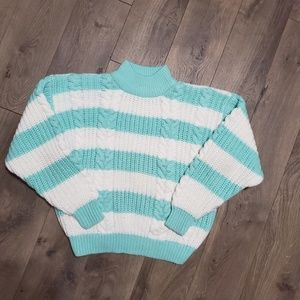 Vintage Sweaters - Vintage Mock Neck Cable Knit Striped Sweater
